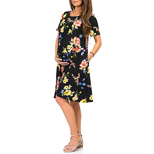 10ab95e244fbe Mother Bee Maternity Women's Maternity T Shirt Dress with Pockets ...