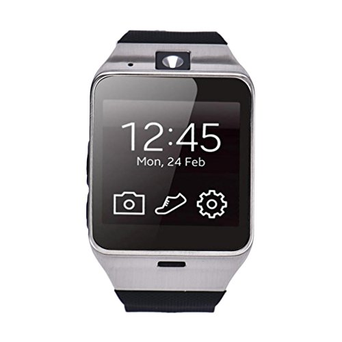 Egmy 2016 Aplus GV18 Bluetooth Smart Watch phone GSM NFC Camera Waterproof wristwatch for Samsung iPhone (Black)