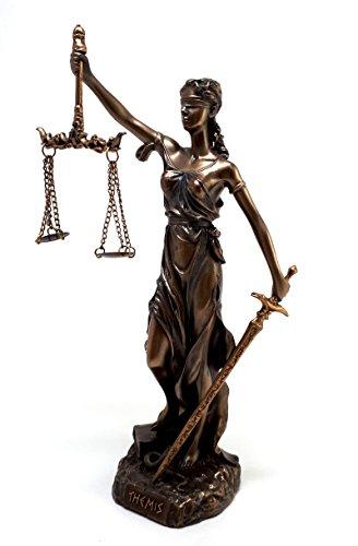 "Themis Statue Greek Goddess Lady of Justice Justitia Sculpture Figure Bronze Finish 7.87"""