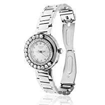 18K White Gold Plated Water Resistant Luxury Watch with White Face Surrounded by Moveable Crystals a Band with Adjustable Links and Encrusted with High Quality Clear Crystals and 1 Diamond by Matashi