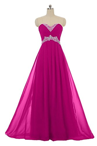 Snowskite Sweetheart Long Chiffon Beading Holiday Party Formal Prom Dress Fuchsia 0 by Snowskite