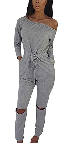 [Hibluco Women's Sexy Off Shoulder Jumpsuits Knee Hole Pants Party Club Rompers (Medium, Gray)] (Sexy Jumpsuits For Women)