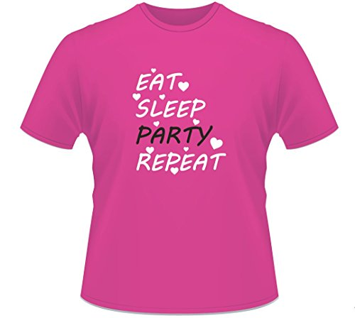 Ladies Hot Pink Hen Party Bachelorette Fancy Dress 'Eat Sleep Party Repeat' T-Shirt-Extra Large