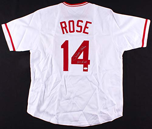 (Pete Rose Autographed White Cincinnati Reds Jersey - Hand Signed By Pete Rose and Certified Authentic by JSA - Includes Certificate of Authenticity - Inscribed Hit King)