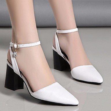 pwne Donna Primavera tacchi Club scarpe in pelle PU Casual Chunky Heel Bianco Nero Bianco noi6.5-7 / EU37 / UK4 5-5 / CN37