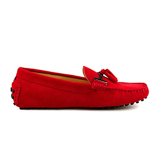 Shenduo Zapatos Casuales - Mocasines de piel con borlas cómodos para mujer D7057 Rojo