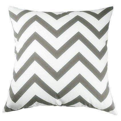 TAOSON Chevron Cushin Cover Pillow Cover Pillowcase Zig Zag Cotton Canvas Pillow Sofa Throw White Printed Linenwith Hidden Zipper Closure Only Cover No Insert 24x24 Inch 60x60cm Dark Grey/Gray
