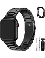 Fullmosa Compatible Apple Watch Band 42mm 44mm 45mm 38mm 40mm 41mm, Stainless Steel Metal For Apple Watch Bands, 42mm 44mm 45mm Black