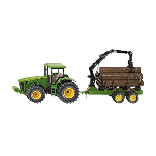 1:50 Siku John Deere Tractor With Forestry Trailer Model