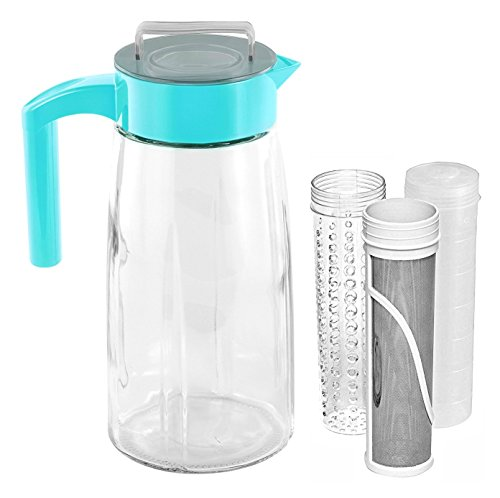 Cooking Upgrades 60oz Glass Cold Brew Coffee Maker and Tea Maker With Ice And Fruit Infuser Inserts Included (Teal)