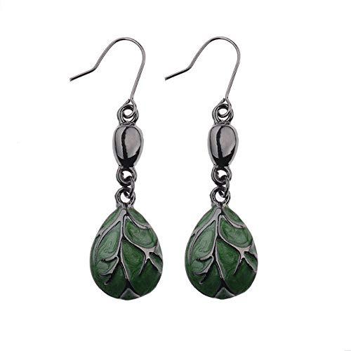 ZHUBAOO Trendy Gorgeous Glazed Oiled Maple Leaves Dangle Earrings for Women