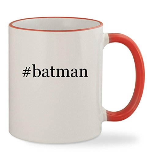 #batman - 11oz Hashtag Colored Rim & Handle Sturdy Ceramic Coffee Cup Mug, Red