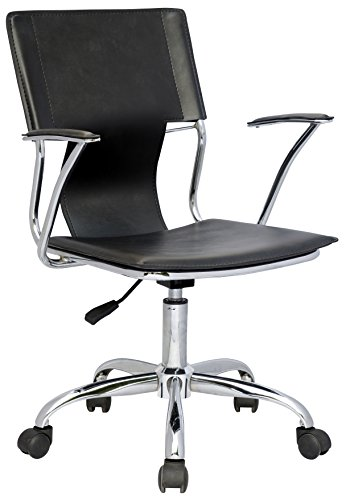 Milan Daisy Modern Adjustable Swivel Computer Arm Chair, Black by Milan