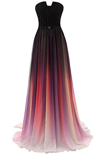 Evening asymmetrical Chiffon Prom Party Women's Dresses Neck Formal Gradient anmor Gradient Gown ARSD231 Long ES67wqWIW