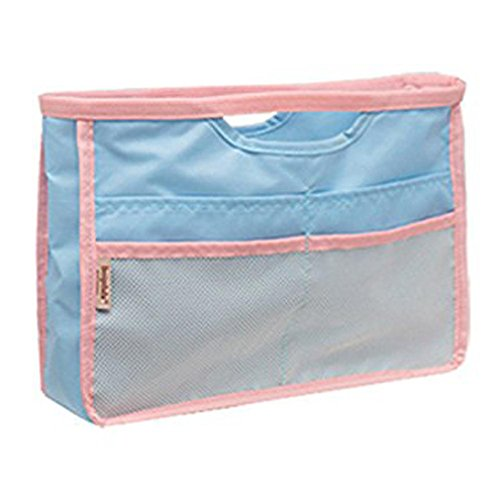 Lady Women Travel Insert Organizer Compartment Bag Handbag Purse Large Liner Tidy Bag Cosmetic Bag Light Blue for Women Girls by TheBigThumb - Lite Purse