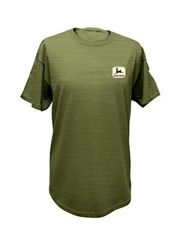 John Deere Western Shirt Mens S/S Antlers L Gray Green 13281799