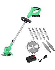Aozu Garden Electric Strimmer Cordless Lawn Mowers 21V Powerful Chargeable Edger Cutter Handheld Grass Cutters Hedge Trimmers for Lawn Care Home Orchards Farms DIY Tools,Telescopic