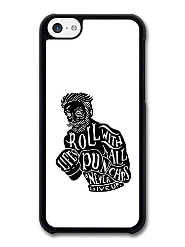 Roll With All Life's Punches Cool Black and White Illustration with Hipster case for iPhone 5C