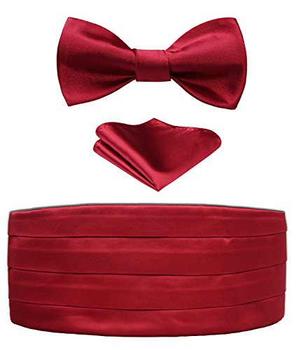 Set Red Cummerbund (Enmain Men's Formal Cummerbund & Bowtie & Pocket Square Set-Various Colors Red)