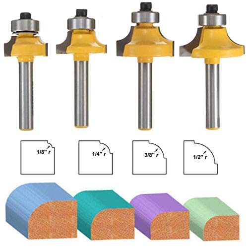 4 Pcs Round Over Bearing Edging Router Bits, Corner Rounding Edge-forming Bit Set, Roundover Beading Router Bit Set, 1/4 Inch Shank Woodworking Milling Cutter Tools | 1/8