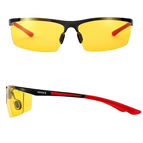 f659e993687 From USA ☆ SOXICK Mens HD Polarized Night Driving Glasses Anti Glare Safety  Glasses Red .