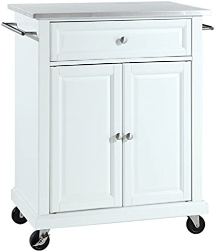 Crosley Furniture Cuisine Kitchen Island With Stainless Steel Top   White