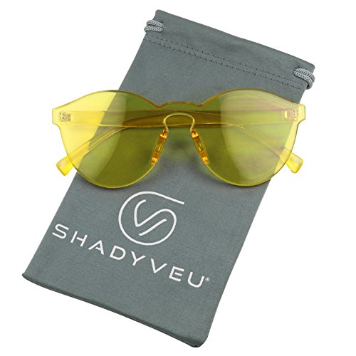 ShadyVEU - Colorful Transparent One Piece PC Monoblock Ultra Bold Rimless Sunglasses (Yellow, - Rimless Glasses Circular