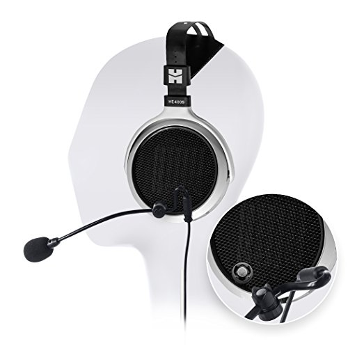 HIFIMAN HE400S Full Size Planar Headphone - INCLUDES - Antlion Audio ModMic Attachable Boom Microphone - Noise Cancelling w/ Mute Switch + Blucoil Y Splitter by blucoil