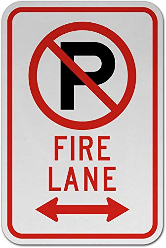 Traffic Signs - No Parking Fire Lane (Double Arrow) Sign 2 12 x 18 Magnet Sign Street Weather Approved Sign