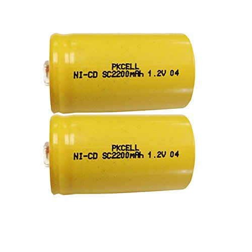 1.2V SC 2200mAh NI-CD Rechargeable Button Top Battery 2PC