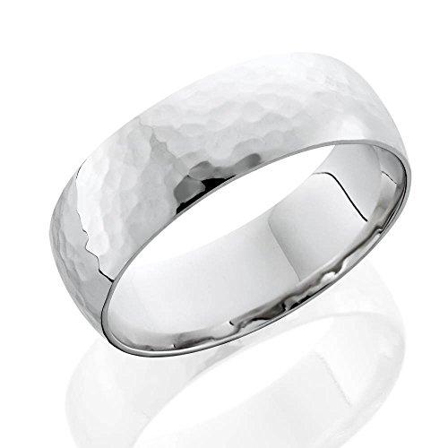 7mm Polished Hammered Wedding Band 10K White Gold - Size 10.5
