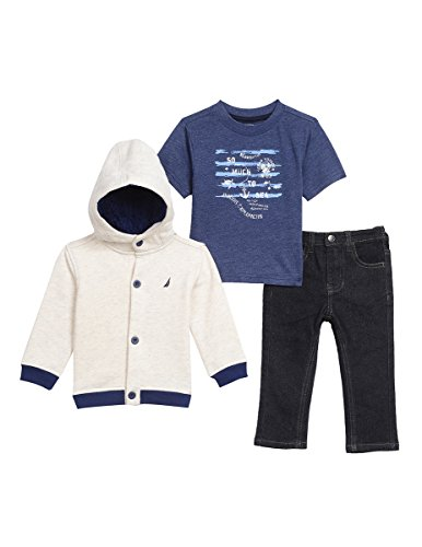 Fleece Button (Nautica Baby Boys' Fleece Button up Hoodie, Tee and Denim Pant Set, Oat Heather, 24 Months)