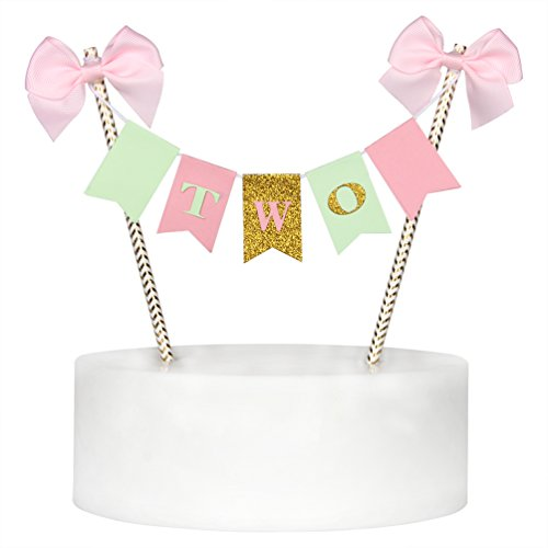 Handmade 2nd Two Birthday Cake Topper Gold Glitter Letter Cake Decoration for Baby Girl