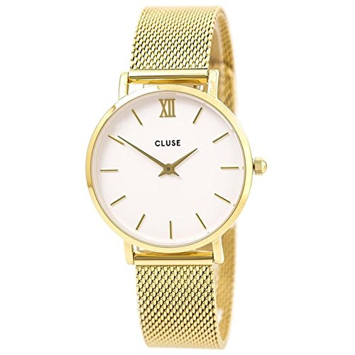 CLUSE Minuit Mesh Gold White CL30010 Women's Watch 33mm Stainless Steel Strap Minimalistic Design Casual Dress Japanese Quartz Elegant Timepiece -