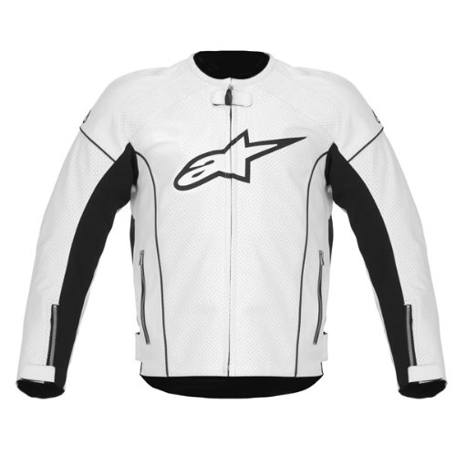 Alpinestars TZ-1 Reload Perforated Leather Jacket , Gender: Mens/Unisex, Apparel Material: Leather, Distinct Name: White, Primary Color: White, Size: 56 - Leather Tz1 Alpinestars Jacket