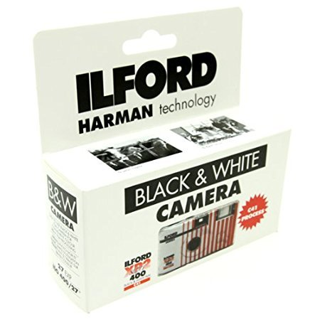 Disposable Black Camera White - Ilford XP2 Super Single Use Camera with Flash (27 Exposures) black and white film 2-Pack