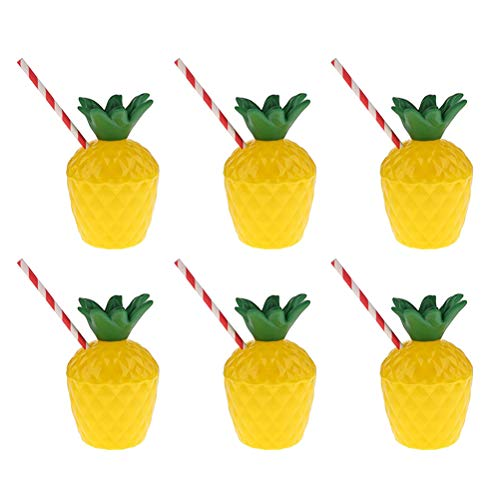 Amosfun Drink Cups Pineapple Tropical PE Cups Party Supplies for Luau Summer Beach Party with Disposable Straw 6pcs ()