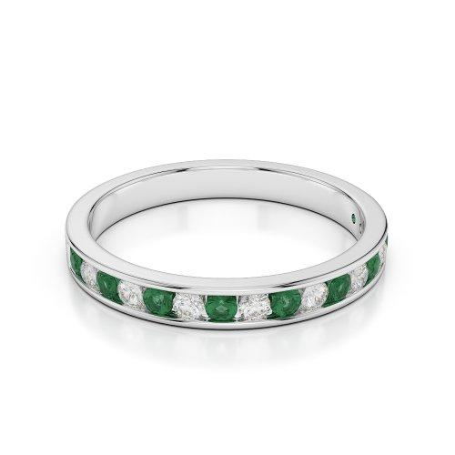 G-H/VS 0,34CT Coupe ronde Certifié Émeraude et diamants en platine 950Agdr-1090