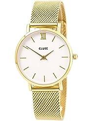 Cluse Womens Minuit 33mm Gold-Tone Steel Bracelet Metal Case Quartz White Dial Analog Watch CL30010