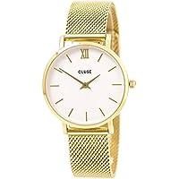 CLUSE Minuit Mesh Gold White CL30010 Women's Watch 33mm Stainless Steel Strap Minimalistic Design Casual Dress Japanese Quartz Elegant Timepiece