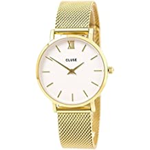 CLUSE Minuit Mesh Gold White CL30010 Women's Watch 33mm Stainless Steel Strap Minimalistic Design Casual Dress Japanese Quartz Elegant Timepiece