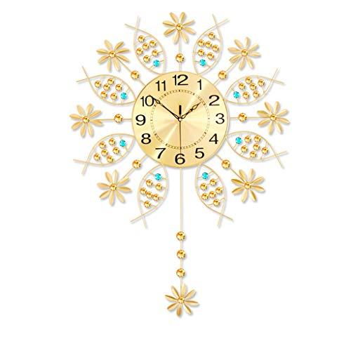 (20inch Metal Crystal Pendulum Wall Clock Luxury Diamond Wall Charts Hanging Watch Clocks for Kitchen Bedroom (Color : Gold, Size : 20inch))