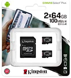 Kingston Canvas Select Plus Tarjeta microSD, SDCS2/64GB-2P1A Class 10 (2X Tarjetas,SD con Adaptador SD)