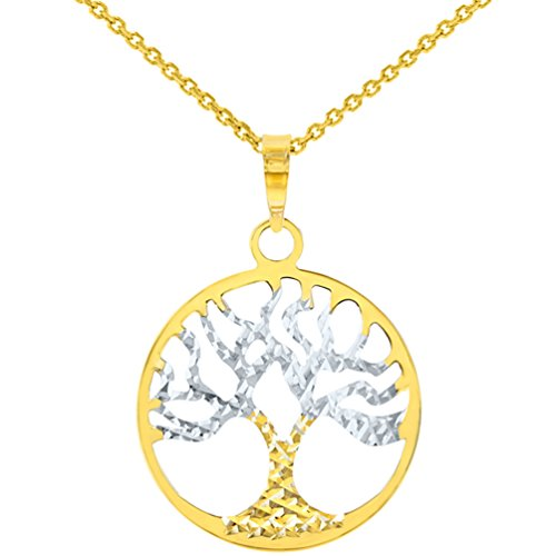 Solid 14K Yellow Gold Textured Tree of Life Disk Chain Pendant Necklace, 18