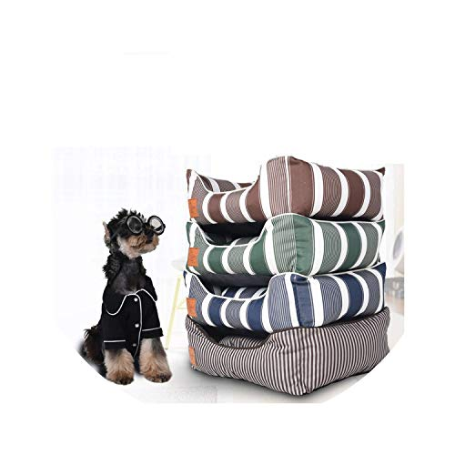 - ZZmeet Luxury Pet Puppy Doggy Beds Cat Mat Striped Dog Sofa House Nest Sleeping Cushion Kennel Durable Washable Small Medium Dog Bed,Brown Stripe,50x40x18cm
