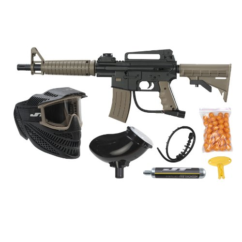 JT Tactical Ready to Play Paintball Marker Kit, Coyote (Marker Goggles)
