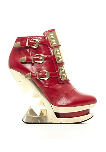 Gleam Wedge (Hades GLEAM Red Iceberg Wedge Gold Plated Studs Platform Ankle Boot 3 Buckles-9)