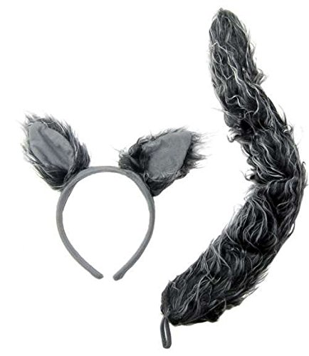 J24630 Wolf Ears & Tail Set Gray, One Size -