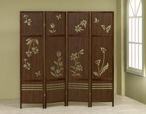 A&D 4 Panel Walnut Finish Wood Room Divider Shoji Screen with a Floral Design in The Center