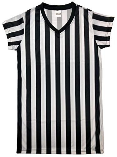 Murray Sporting Goods Women's Black and White Stripe Referee Shirt, Official Jersey for Refs, Waitresses and More (Large) -